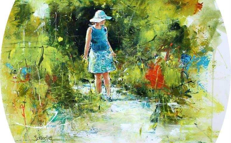'Down the garden path'acryliconpaper30x35cm