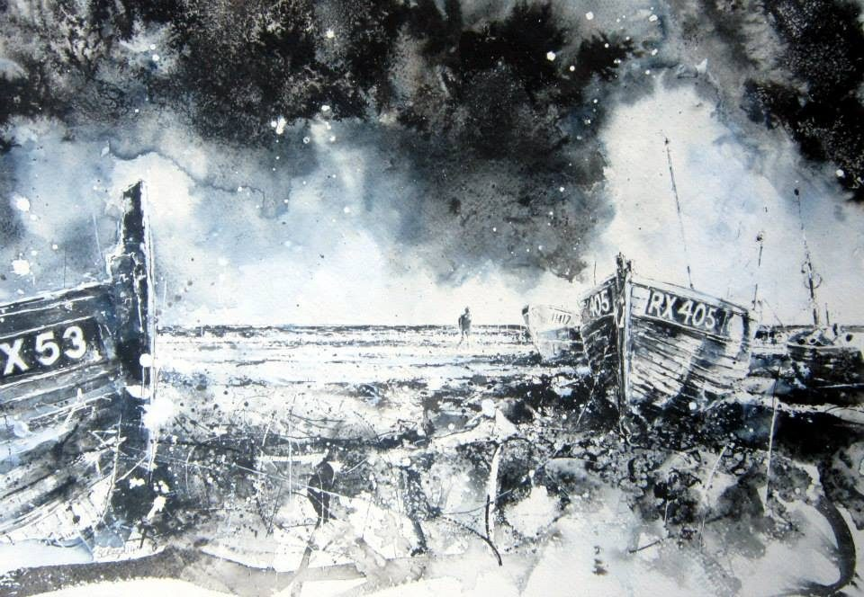 'See the sky about to rain'2014watercolourandinkonpeper49x30cm